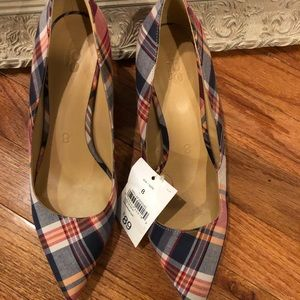 Multicolor Plaid  Low Heel Pumps